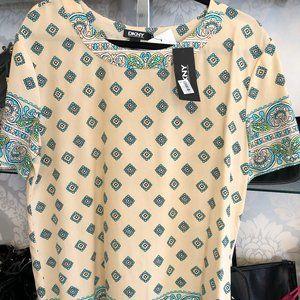 DKNY Beige/Teal Print Sheer Silk Short Sleeve Top